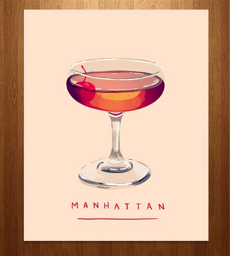manhattan drink illustration manhattan cocktail art print art prints posters nan