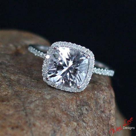 white sapphire cushion halo engagement ring 3ct