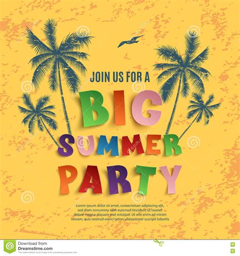 Big Summer Party Poster Template Stock Vector Image 72385218 Summer Poster Template