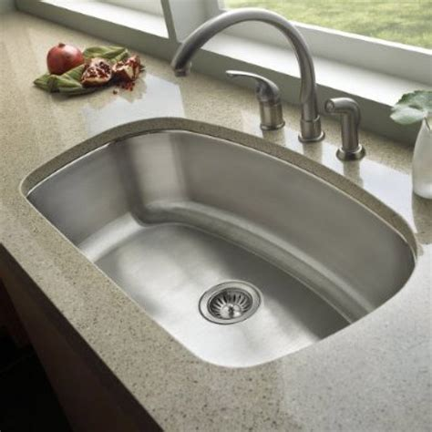 32 Inch Stainless Steel Undermount Curved Single Bowl Kitchen Sink Undermount Stainless Steel