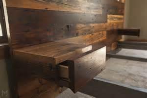 Custom Made King Bed Frames Custom Reclaimed King Platform Bed Floating End Tables