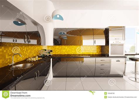 modern kitchen interior 3d rendering interior of modern kitchen 3d render stock photo image