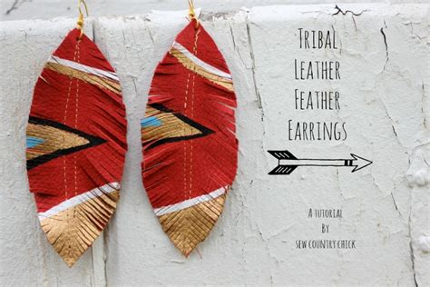 tribal pattern diy diy tribal leather feather earrings