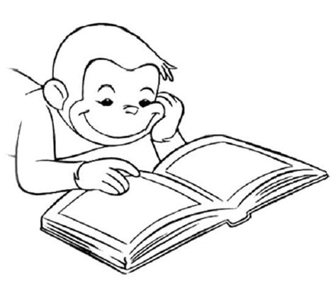coloring page reading book curious george book and coloring on pinterest