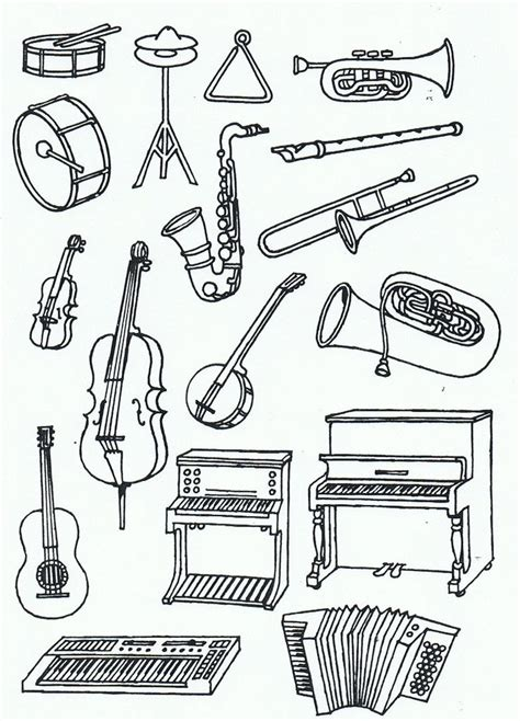 Symphony Instruments Coloring Pages | 17 best images about music instruments on pinterest