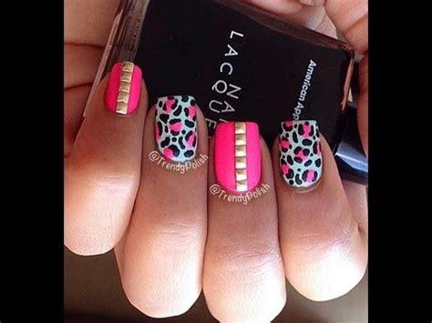 nail art tutorial animal print how to studded leopard print nail art tutorial youtube