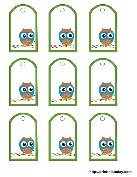 Favor Cards Template by Free Owl Baby Shower Favor Tags Templates