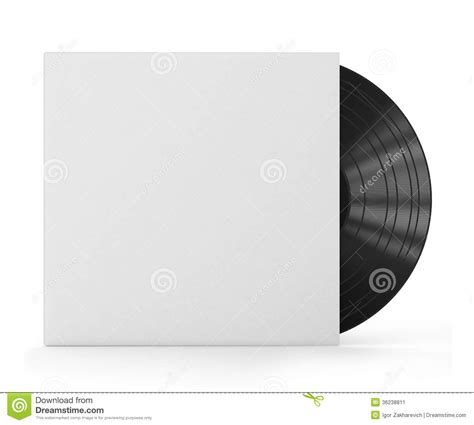 vinyl record with blank cover stock illustration