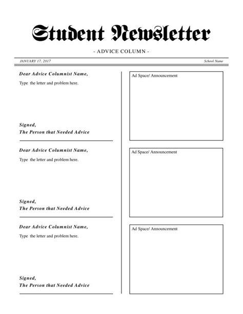 student newsletter templates free student newsletter template paularts info
