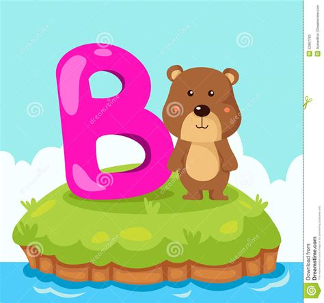 B For illustrator of letter b is for stock vector image
