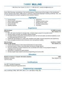 best web developer resume exle livecareer