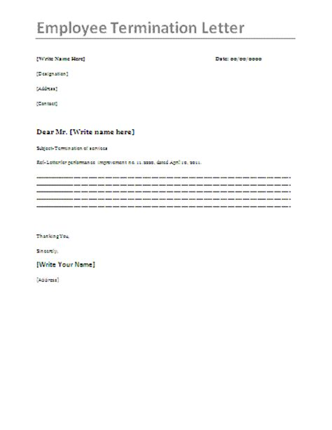 sample employee resignation agreement termination letter week
