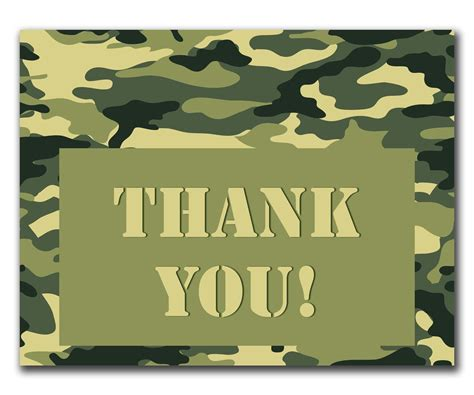 thank you army card template camouflage thank you printable card and envelope set