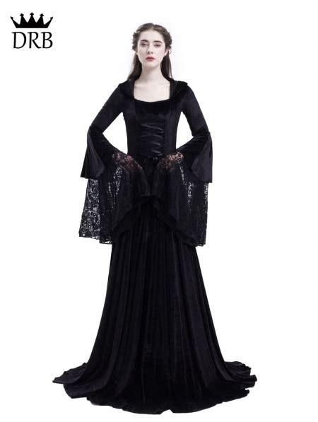 black gothic medieval vampire hooded dress costume