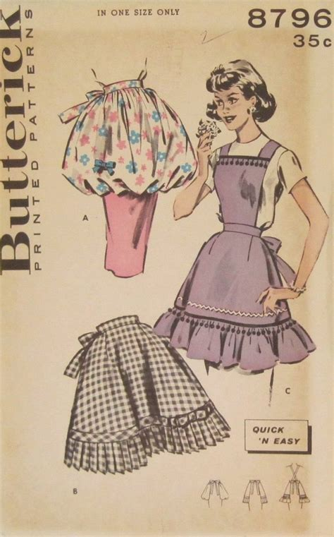free sewing pattern half apron 1950 s apron patterns vtg 1950 s butterick full half