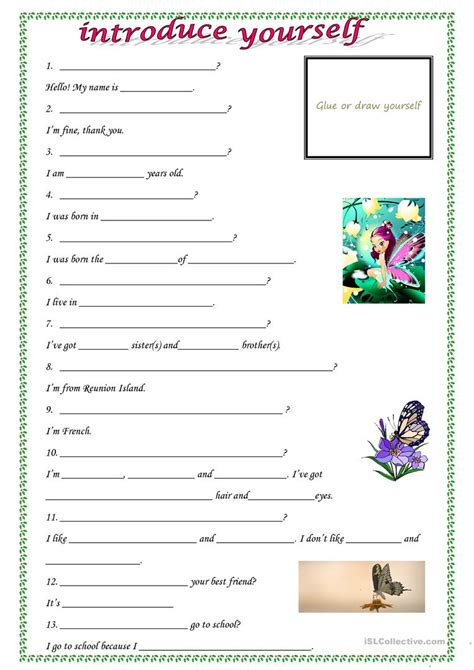 printable quiz about yourself introduce yourself worksheet free esl printable