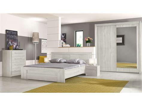 chambre chene blanchi lit 180x200 cm tiroir coloris ch 234 ne blanchi vente de lit adulte conforama