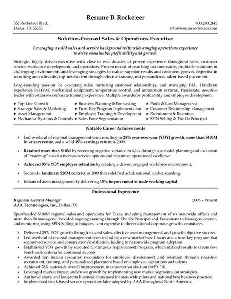 Resume Summary Sle For Operations Manager Sales And Operations Executive Resume