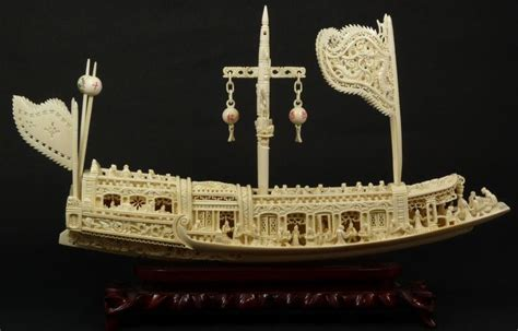 hand carved boat chinese junk boats chinese hand carved ivory junk boat