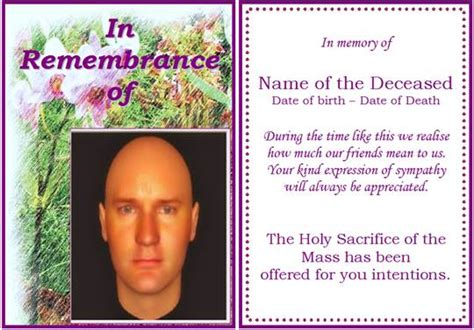 in remembrance card template exle of rememberance funeral card orchid