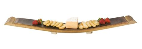napa east collection wine barrel stave cheese tray
