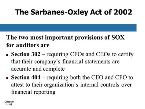 sarbanes oxley act of 2002 section 404 chapter 11 information technology auditing ppt video