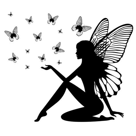 fairy silhouette tattoo designs blak ink sitting silhouette and flying