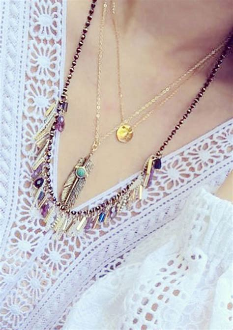 Vintage Feather Tassel Necklace vintage feather tassel necklace fairyseason