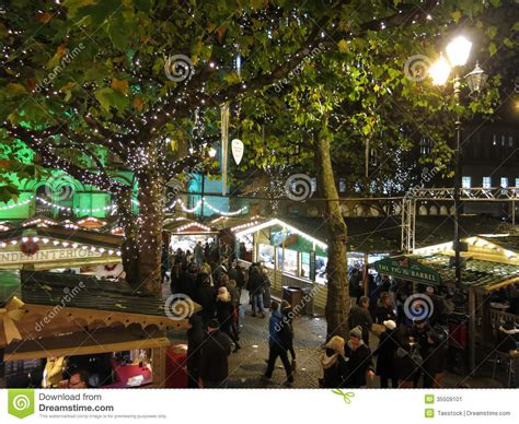 manchester christmas market by night england editorial