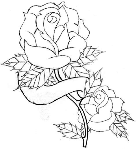 drawing pattern of rose heart and roses tattoo drawings rose and banner line art