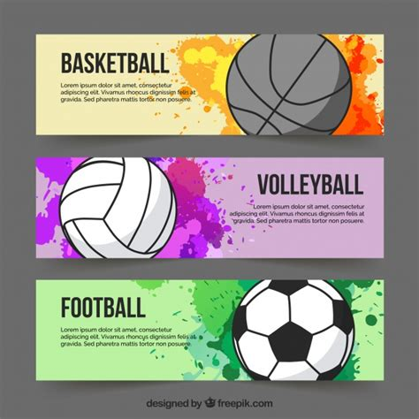 Sport Colourful Banners Vector Free Download Sports Banner Templates