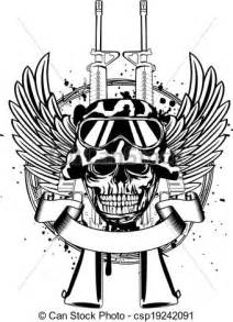 eps vectors of skull in helmet and two guns vector