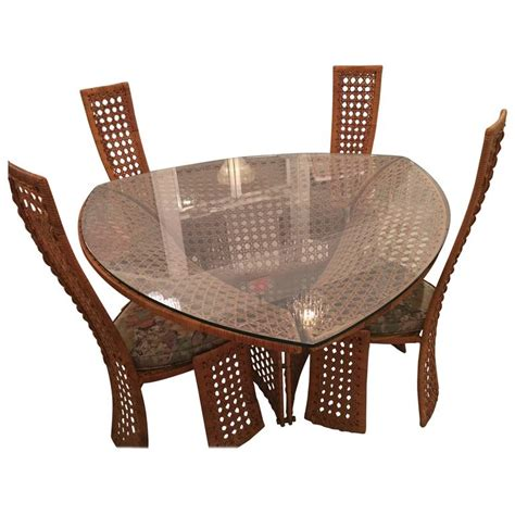 Wicker Dining Table Set Danny Ho Fong Dining Table Set And Four Side Chairs Rattan Wicker Vintage Bamboo For Sale At 1stdibs