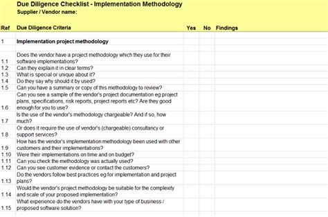 due diligence checklist for implementation methodology