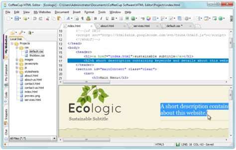 best wysiwyg html editor coffeecup html editor free and software reviews