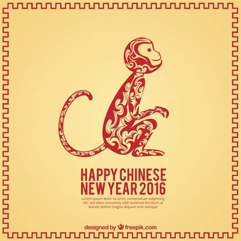 new year 2016 monkey template happy new year decorative background vector free