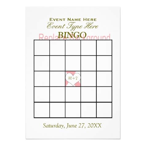 template for a 5 x 7 note card bingo template 5x7 paper invitation card zazzle