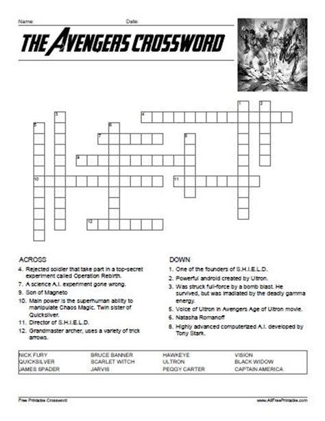super easy printable crossword puzzles the avengers crossword all free printable pinterest