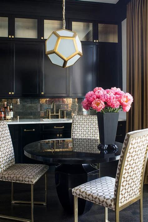 gold dining room black and gold buffet cabinet with mirrored backsplash