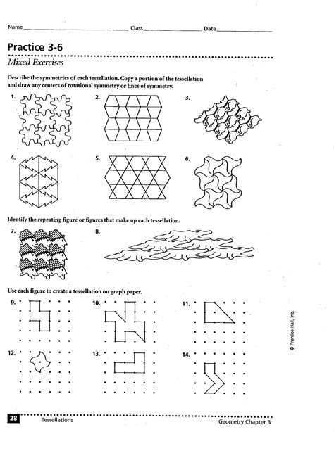 tessellation worksheets winterrowd math geometry b quarter 4