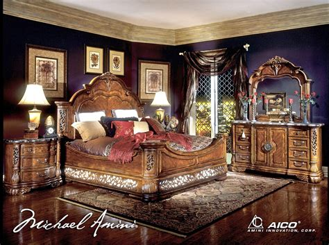 Aico King Bedroom Set by Michael Amini Excelsior Bedroom Furniture Fruitwood Finish