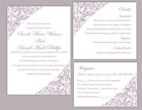 printable wedding invitation lavender diy wedding invitation template set editable word file