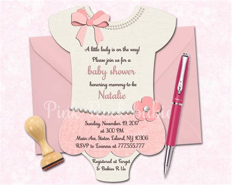 pink onesie baby shower invitations images onesie shaped baby shower printable invitation girl little
