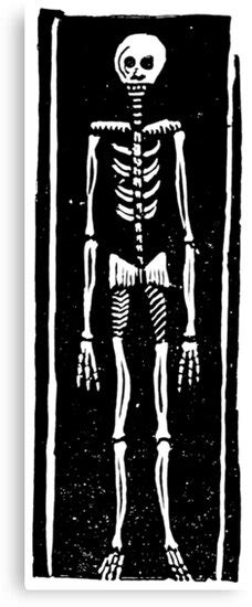 """Late Medieval Woodcut of Skeleton in Coffin"" Canvas Print"