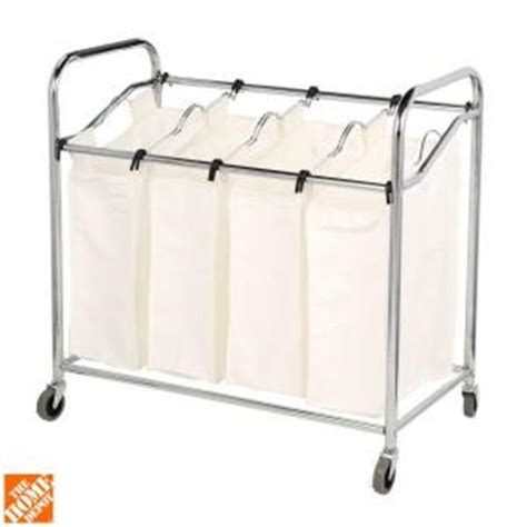 4 section laundry her chrome and canvas 4 section laundry cart sorter 6097 3529