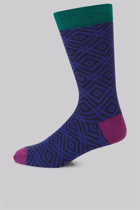 pattern socks uk ted baker blue geo pattern socks