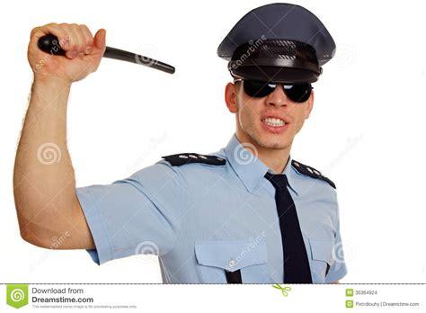 angry policeman with baton stock images image