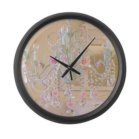 large shabby chic wall clock shabby chic chandelier large wall clock by huesredesign