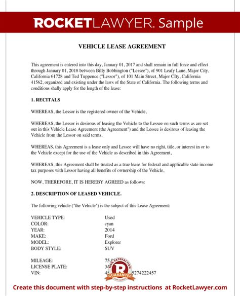 Vehicle Lease Agreement Sle Lease For Cars And Trucks Car Lease Template