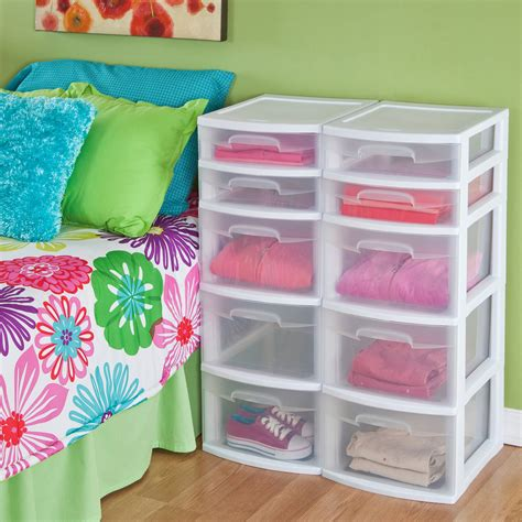 5 Drawer Plastic Storage Tower by Plastic 5 Drawer Tower 2 X Sterilite Home Or Office
